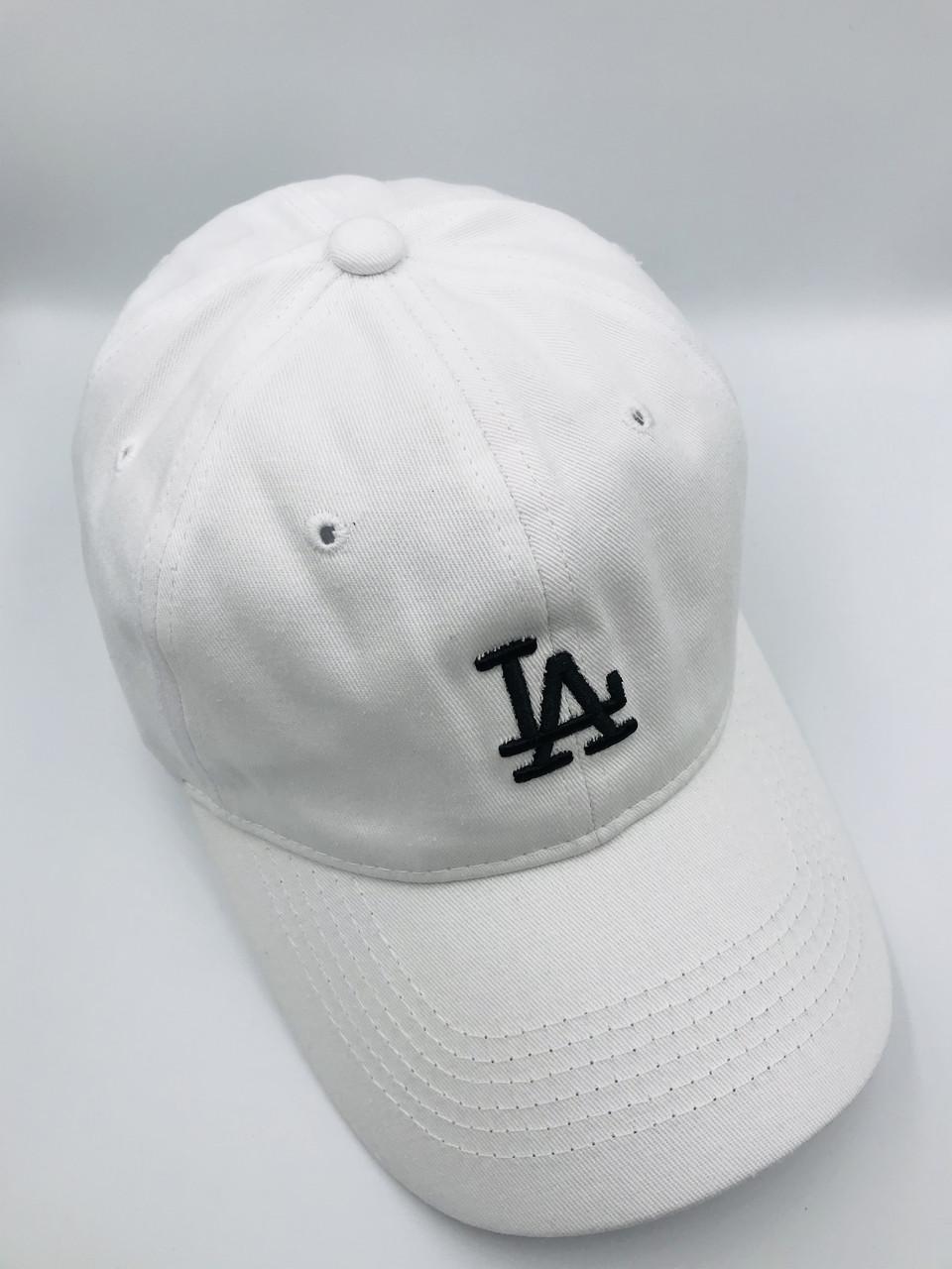 Мужская бейсболка Los Angeles  белая с черным логотипом