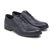 Синие оксфорды броги туфли кожаные мужская обувь демисезонная классика Rosso Avangard Felicete Floto Blu