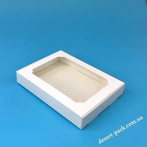 """Коробка для пряників, печива 200х150х30 мм (з вікном) біла """"варіант 2"""", фото 2"""