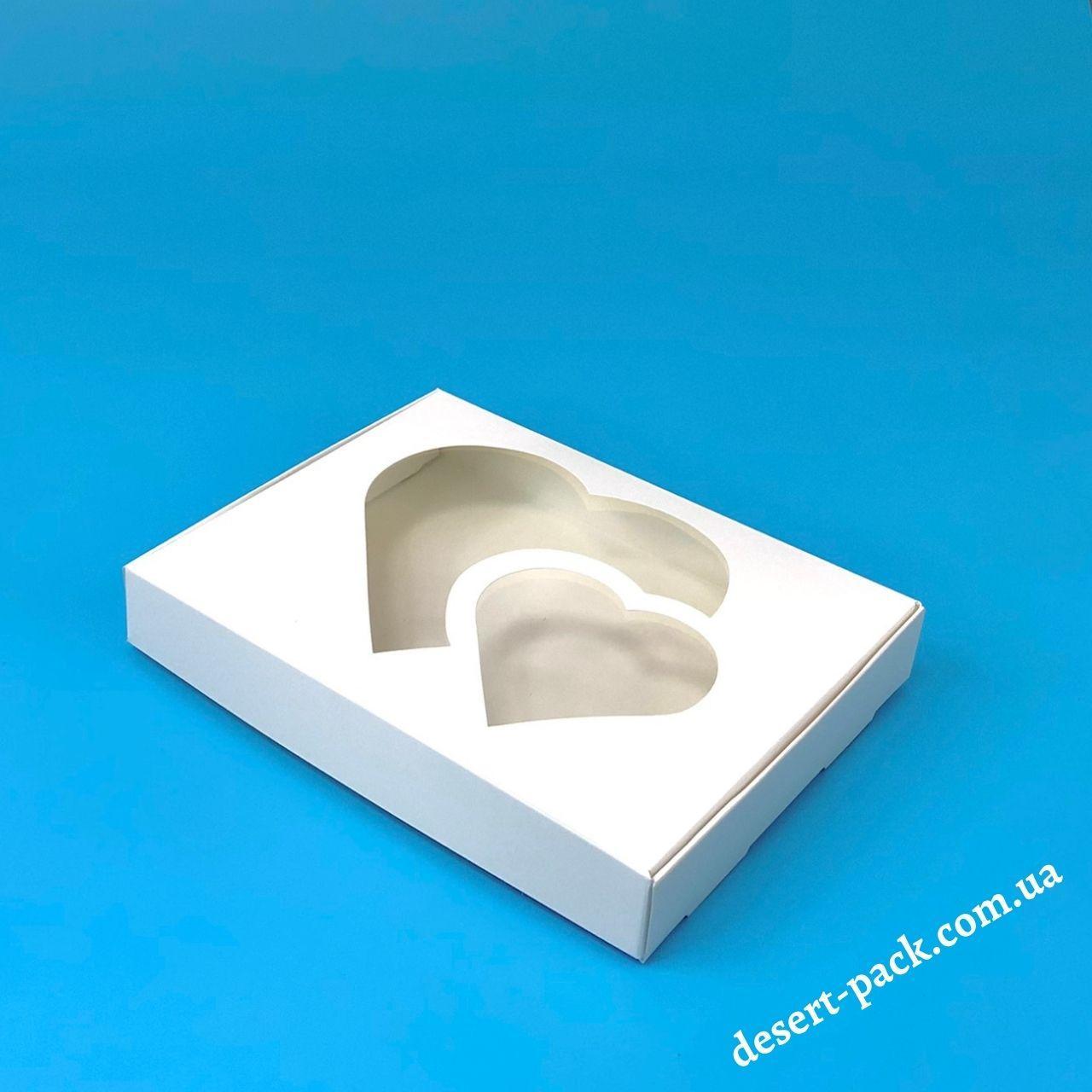 """Коробка для пряників, печива """"Серце"""" 200х150х30 мм (з вікном) білий"""