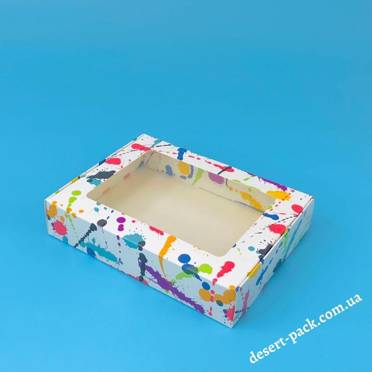"""Коробка для пряників, печива 192х148х40 мм (з вікном) """"Клякса"""""""