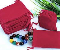 Мешочек для подарков с затяжкой, бархатистая ткань, красный цвет, размер 7х9 см