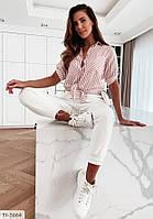 Рубашка женская красивая на лето в полоску из ткани софт р-ры 42-46 арт 1037, фото 1