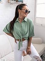 Стильная молодежная женская рубашка укороченная на завязках р-ры 42-46 арт 1038, фото 1