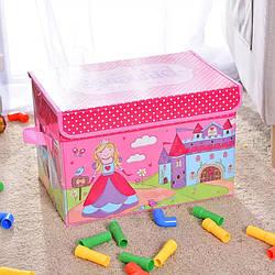 Переносной ящик для хранения игрушек с крышкой на липучке