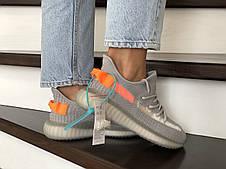 Летние модные кроссовки Adidas Yeezy Boost 350 v2,( Адидас Изи) серые с оранжевым, фото 3