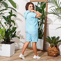 Женский летний костюм с шортами и блузой с капюшоном большие размеры, разные цвета, р.50-60 Код 7756Е, фото 3