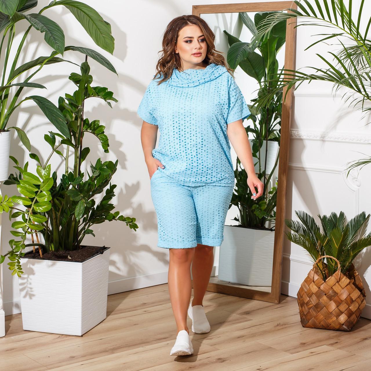 Женский летний костюм с шортами и блузой с капюшоном большие размеры, разные цвета, р.50-60 Код 7756Е