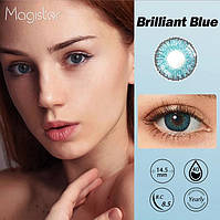 Цветные линзы для глаз Brilliant Blue + контейнер для хранения в подарок