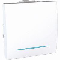 Вылючатель Unica проходной с подсветкой одноклавишный белый MGU3.203.18N