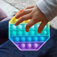 Мягкая игрушка Поп ит Бесконечная пупырка антистресс pop it fidget Разноцветный восьмиугольник