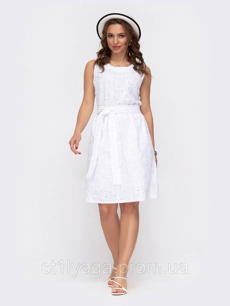 Коротке літнє плаття з прошви біле