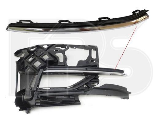 Накладка на передній бампер верхня права VW Golf VII 17-20 (Тайвань) хром