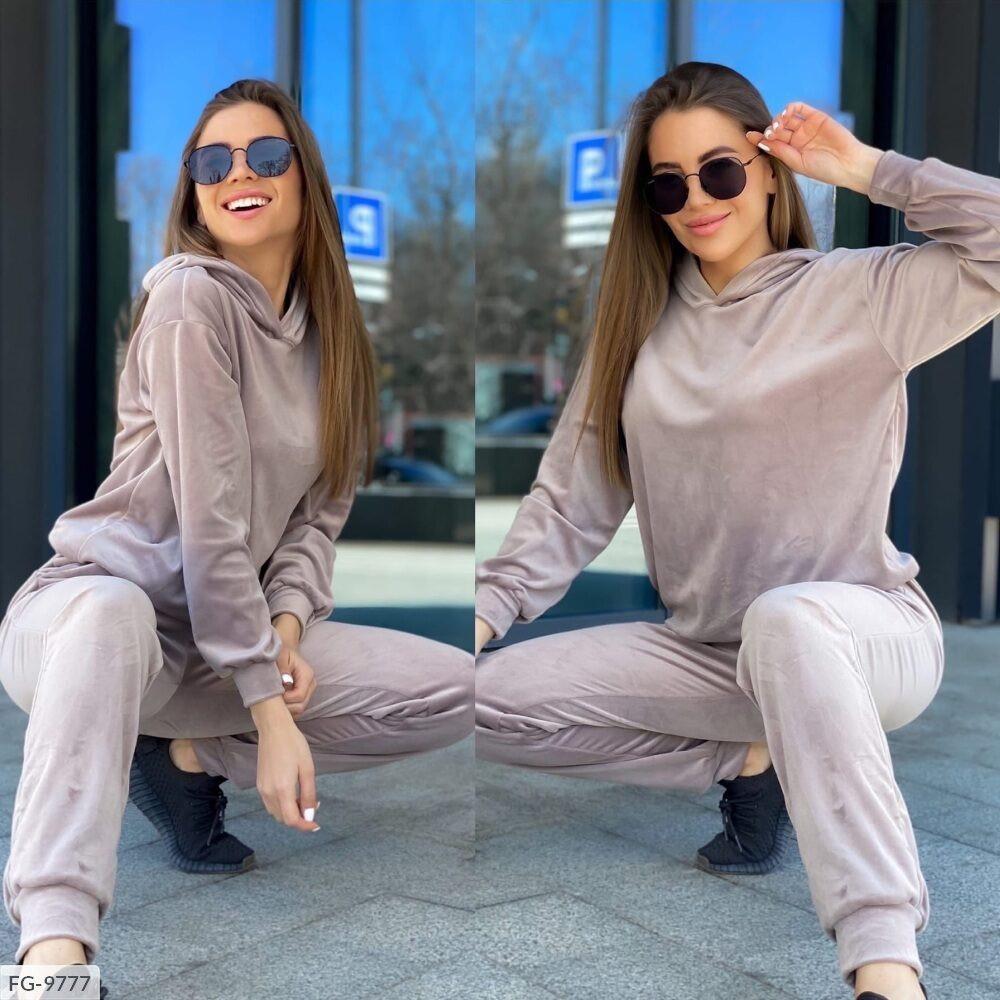 Велюровий спортивний костюм жіночий однотонний кофта та штани р-ри 42-48 арт. 223