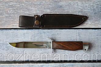 Нож нескладной Финка, с кожаным чехлом в комплекте и отверстием под темляк