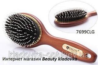 Масажна гребінець дерев'яна Salon Professional (зуби пластик + щетина)