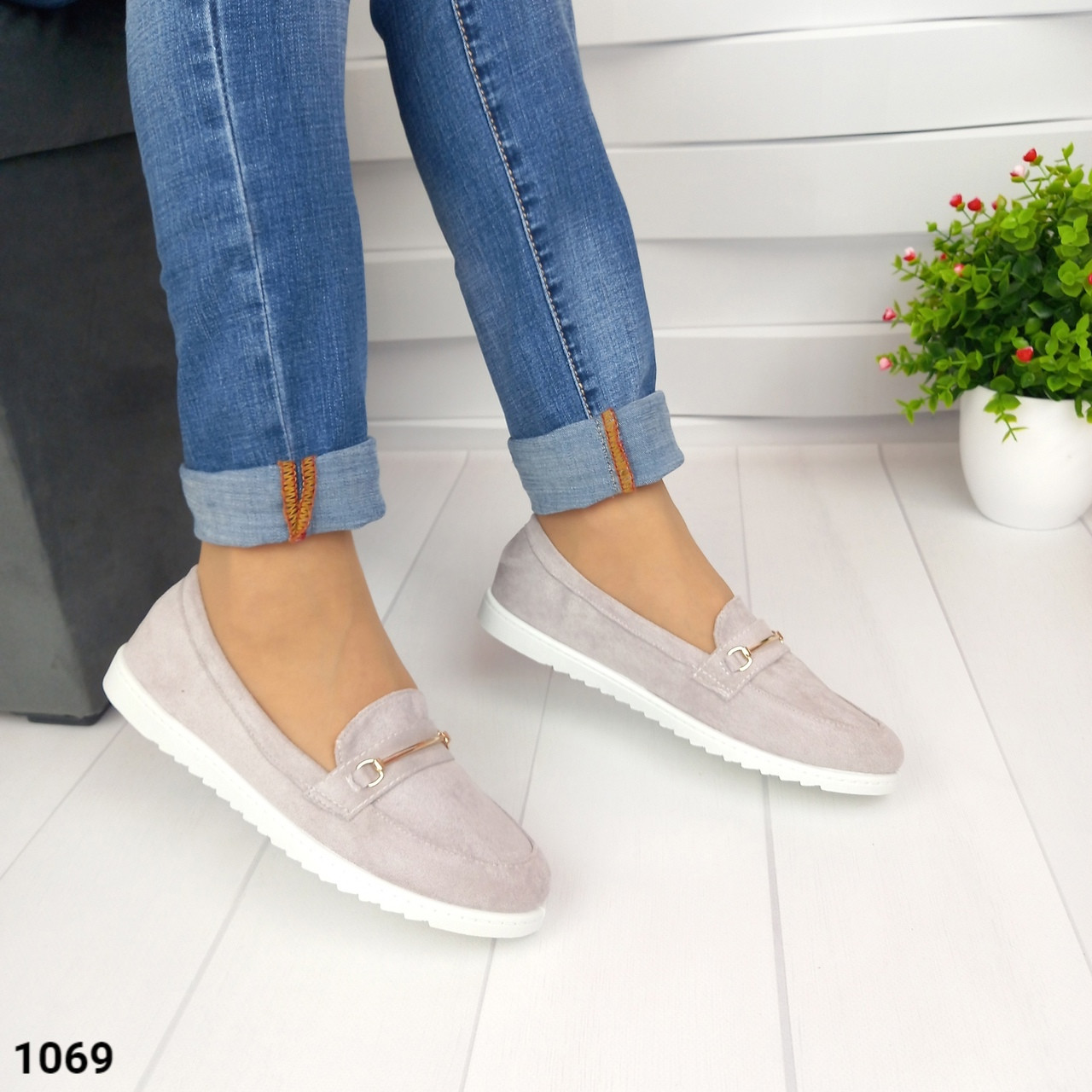 Женские туфли мокасины на белой подошве