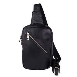 """Мужская кожаная сумка-монорюкзак  от ТМ"""" ArtMar"""" / 15x24x4 см / цвет черный"""