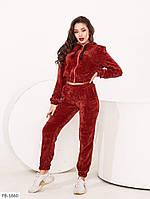 Велюровый спортивный костюм женский укороченная кофта бомбер на молнии и штаны джогеры р-ры 42-48 арт.  0420