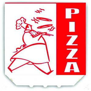 """Коробка под пиццу 45х45х2 см., 20 шт/уп картонная, белая с логотипом """"Pizza"""""""