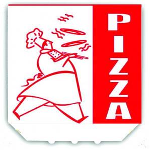"""Коробка под пиццу 38х38х2,5 см., 25 шт/уп картонная, белая с логотипом """"Pizza"""""""