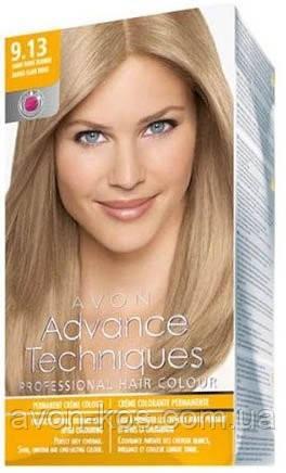 Стійка крем-фарба для волосся «Салонний догляд»  відтінок 9.13  Попелястий блонд Avon,  153 мл (1312555)