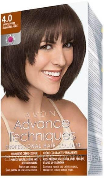 Стійка крем-фарба для волосся «Салонний догляд»  відтінок 4.0  Темно-коричневий  Avon,  153 мл (1312540)