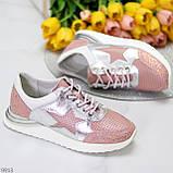 Дизайнерські рожеві сріблясті жіночі кросівки натуральна шкіра / замша 36-23 / 37-24см, фото 2