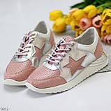 Дизайнерські рожеві сріблясті жіночі кросівки натуральна шкіра / замша 36-23 / 37-24см, фото 4