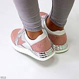 Дизайнерські рожеві сріблясті жіночі кросівки натуральна шкіра / замша 36-23 / 37-24см, фото 5