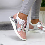 Дизайнерські рожеві сріблясті жіночі кросівки натуральна шкіра / замша 36-23 / 37-24см, фото 6