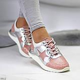 Дизайнерські рожеві сріблясті жіночі кросівки натуральна шкіра / замша 36-23 / 37-24см, фото 7