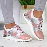Дизайнерські рожеві сріблясті жіночі кросівки натуральна шкіра / замша 36-23 / 37-24см, фото 10