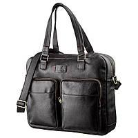 Чоловіча шкіряна ділова сумка-портфель для ноутбука SHVIGEL 19108 Чорна, фото 1