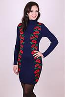 Вязаное платье Цветочный силует красный