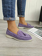 Сиреневые замшевые туфли лоферы, фото 1