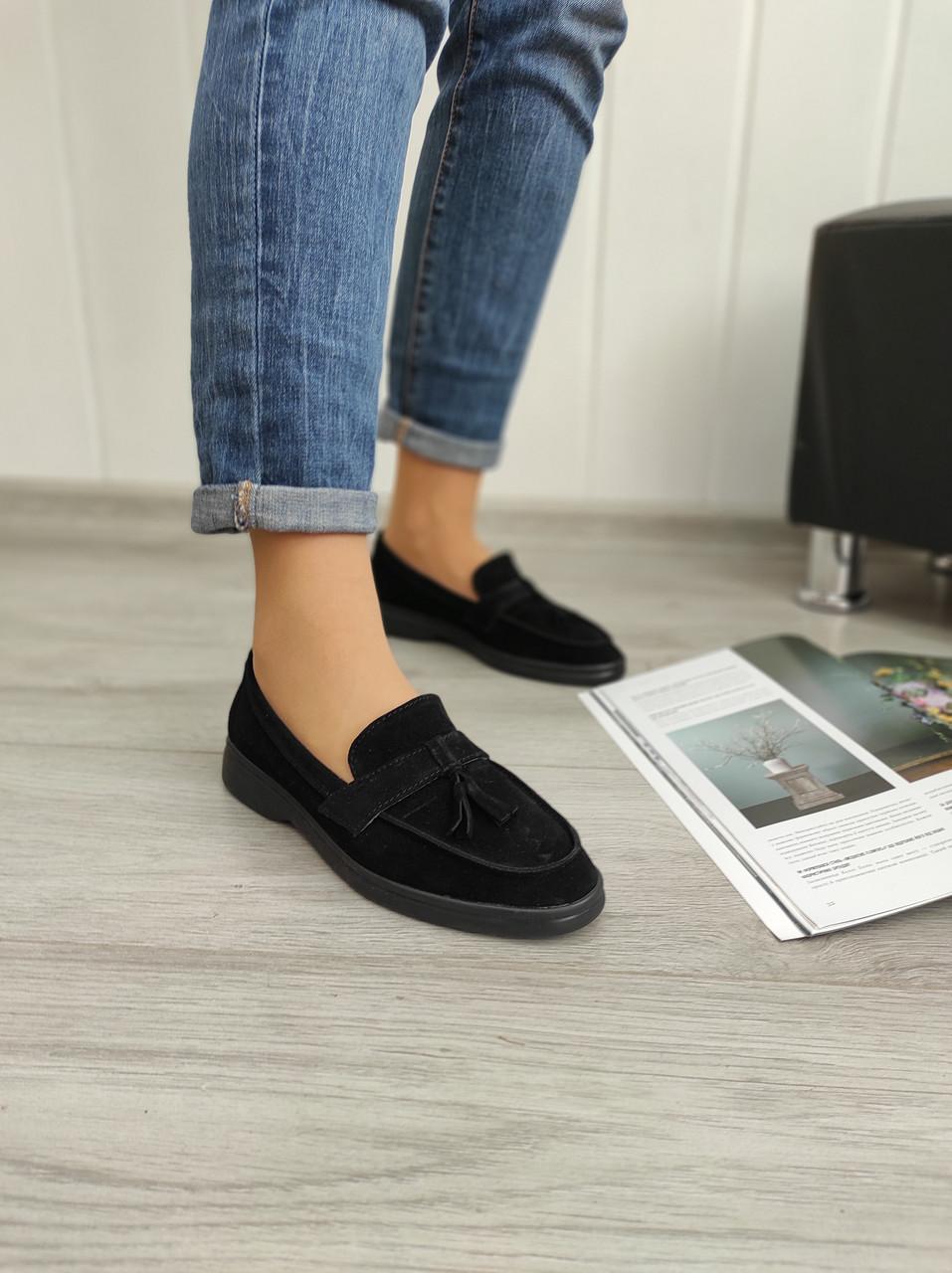 Чорні замшеві туфлі - лофери