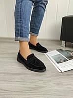 Чорні замшеві туфлі - лофери, фото 1