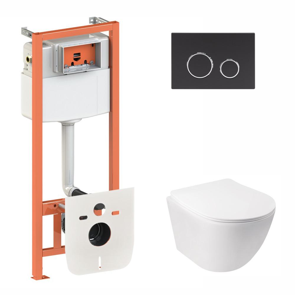 Набор Qtap инсталляция 3 в 1 Nest QT0133M425 с панелью смыва круглой QT0111M11V1146MB + унитаз с сиденьем Jay