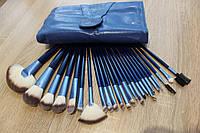 Набор кистей для макияжа синие 24 штуки, фото 1