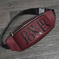 Стильная кожаная бордовая поясная сумка, бананка David Jones.