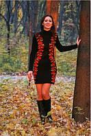 Вязаное платье Цветочный силует пламенный