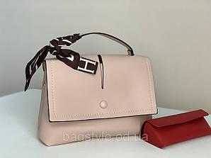 Пудровая женская небольшая сумка розовая