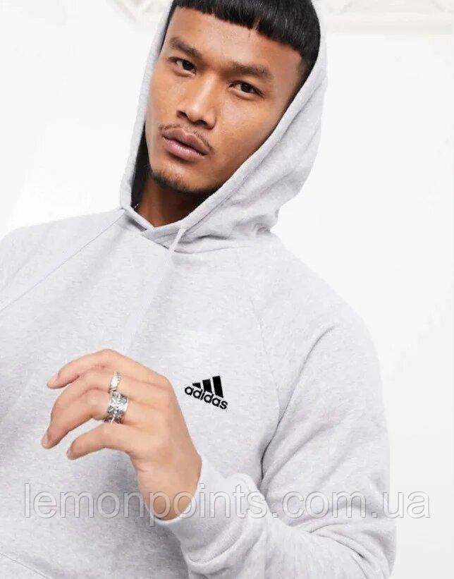 Мужская спортивная толстовка, худи, кенгурушка Adidas (Адидас) Серый