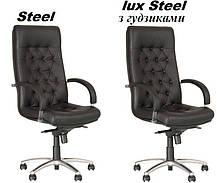 Крісло офісне Fidel steel механізм Мультиблок хрестовина AL 68, шкіра люкс LE-A (Новий Стиль ТМ), фото 3