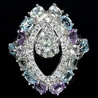 Серебряное Кольцо с Натуральными Топазами Аметистами и Cz