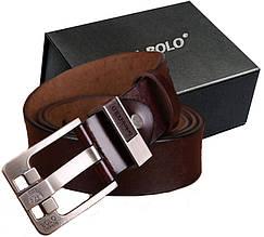 Мужской кожаный ремень 125 см Bolo Bekele с пряжкой Брючный Джинсовый (2020-2) Коричневый
