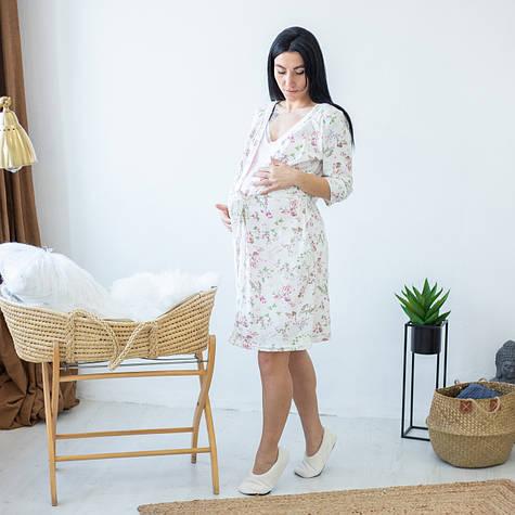 """Комплект в роддом халат с ночной для беременных и кормящих мам """"Веточки"""" 44-52"""