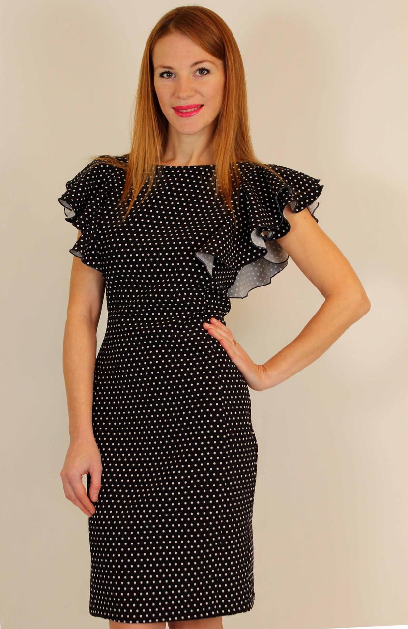 Платье футляр в горошек с воланами на плечах 44-50 р