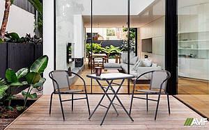 Комплект садовой мебели стол раскладной Mexico и два стульчика Taco серые